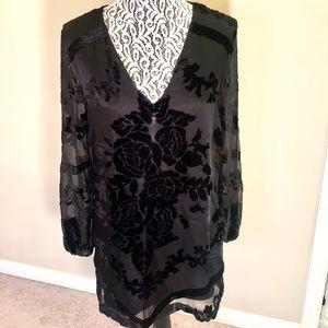 Urban outfitters velvet detailed black dress